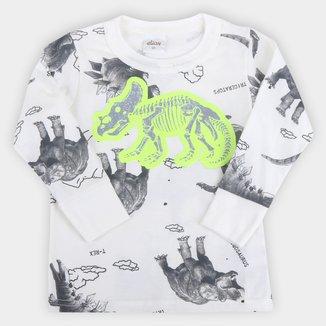 Camiseta Bebê Elian Dino Manga Longa