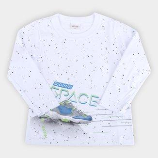 Camiseta Bebê Elian Estampada Manga Longa Feminina