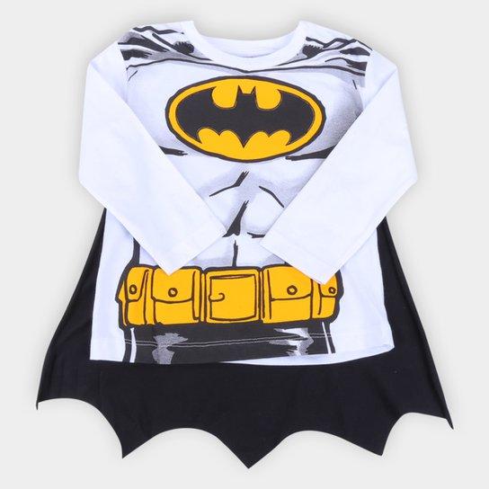 Camiseta Bebê Fakini Batman Manga Longa Com Capa - Branco