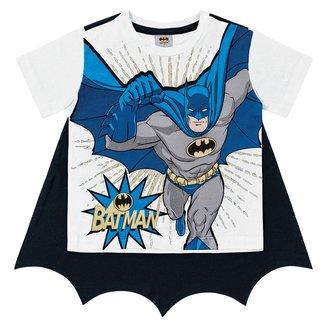 Camiseta Bebê Fakini Meia Malha Batman + Capa Masculina