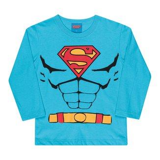 Camiseta Bebê Kamylus Liga da Justiça Com Espuma Manga Longa Masculina
