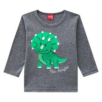 Camiseta Bebê Kyly Bordada Dino Manga Longa Masculina