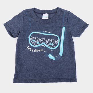 Camiseta Bebê Malwee Let's Dive In Masculina