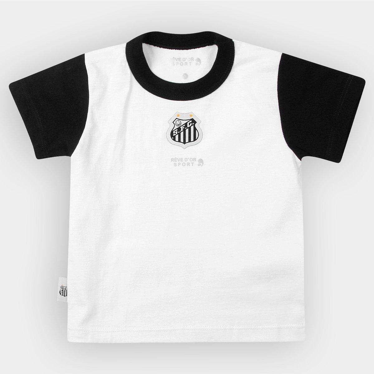 d67b7fe5994f3 Camiseta Bicolor Santos Infantil - Preto e Branco - Compre Agora ...