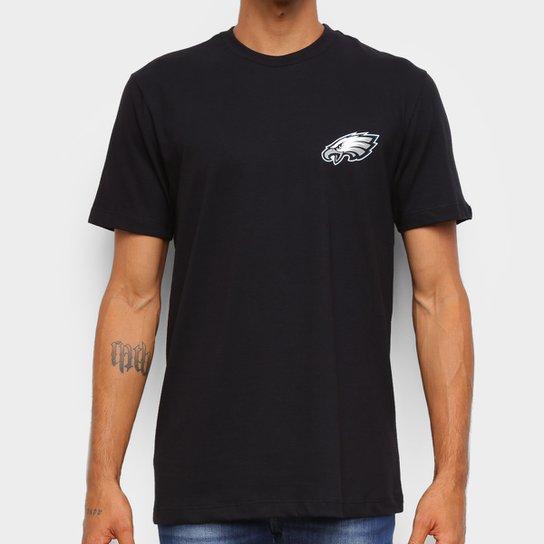 Camiseta Black Pack NFL Philadelphia Eagles New Era Logo Shield Masculina - Preto
