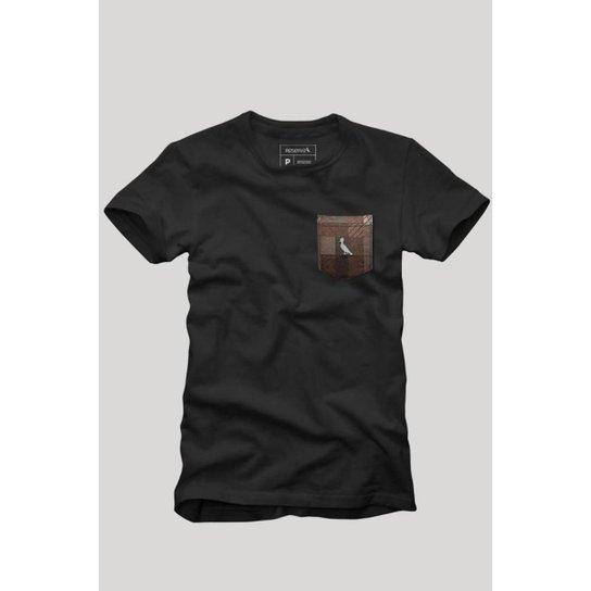 Camiseta Bolso Xadrez Quadrilha Reserva Masculina - Preto