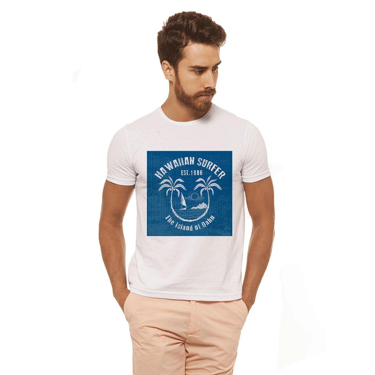 Surf Estampada Camiseta Camiseta Branca Branca Havaiian Branco Masculina Joss qt4T04