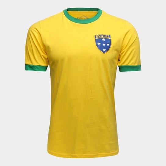 Camiseta Brasil 1982 Retrô Times Masculina - Amarelo