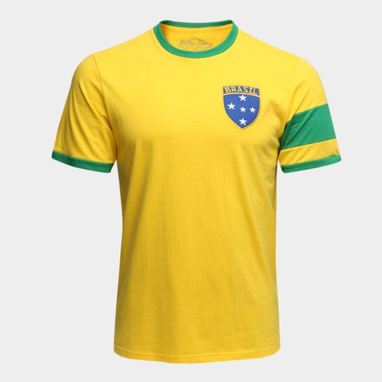 Camiseta Brasil Capitães 1970 Retrô Times Masculina - Amarelo