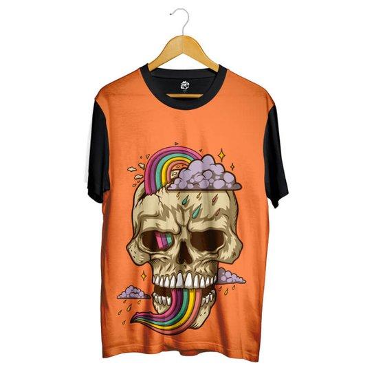 Camiseta Bsc Desenho Caveira Arco Iris Sublimada Masculina Netshoes