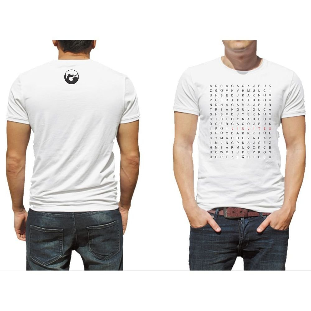 Caça Camiseta Jiu Branco Jitsu Camiseta Palavra Jiu Jitsu Caça Palavra Branco Camiseta BqREZ