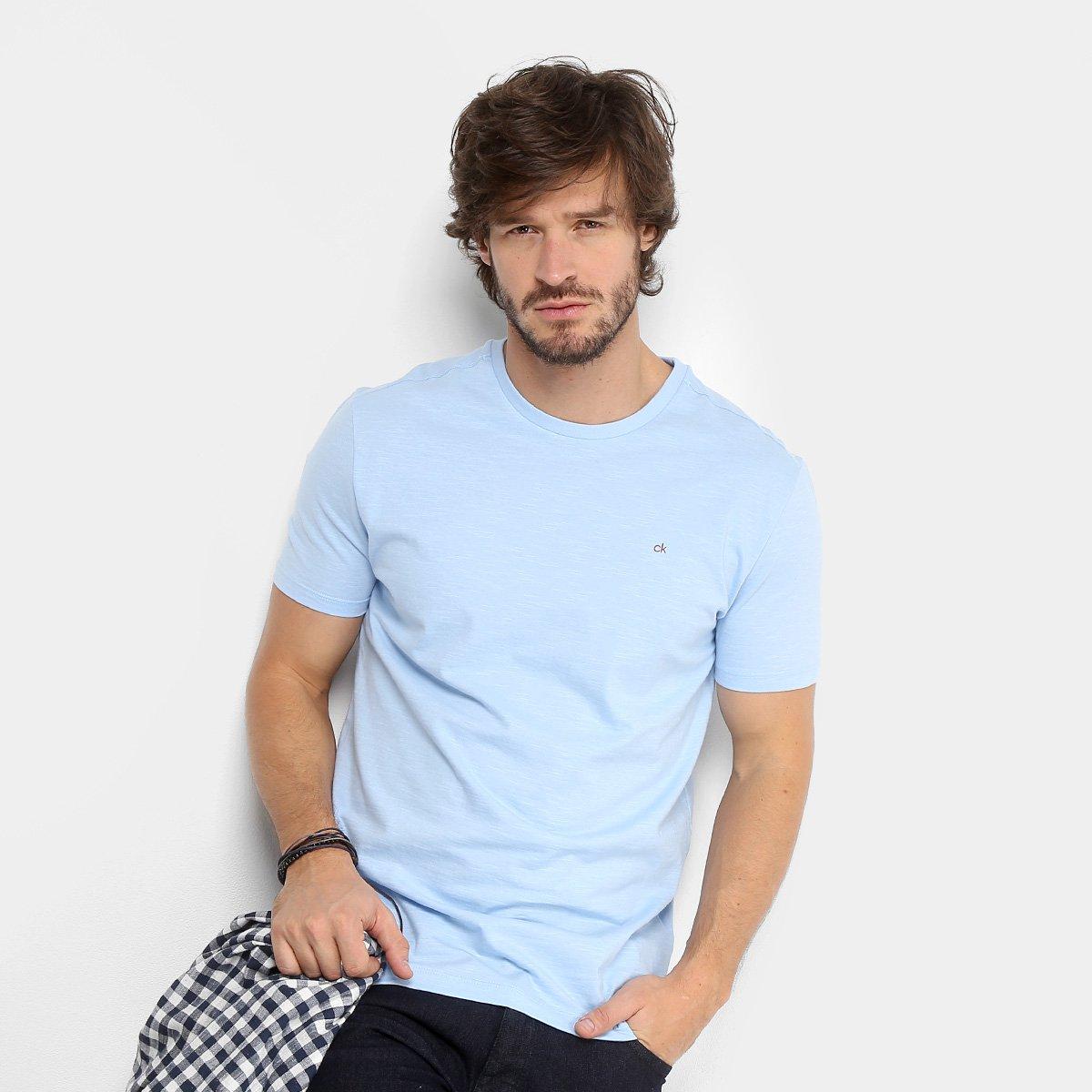 Camiseta Calvin Klein Básica Masculina - Azul Claro - Compre Agora ... f14fcd3e19
