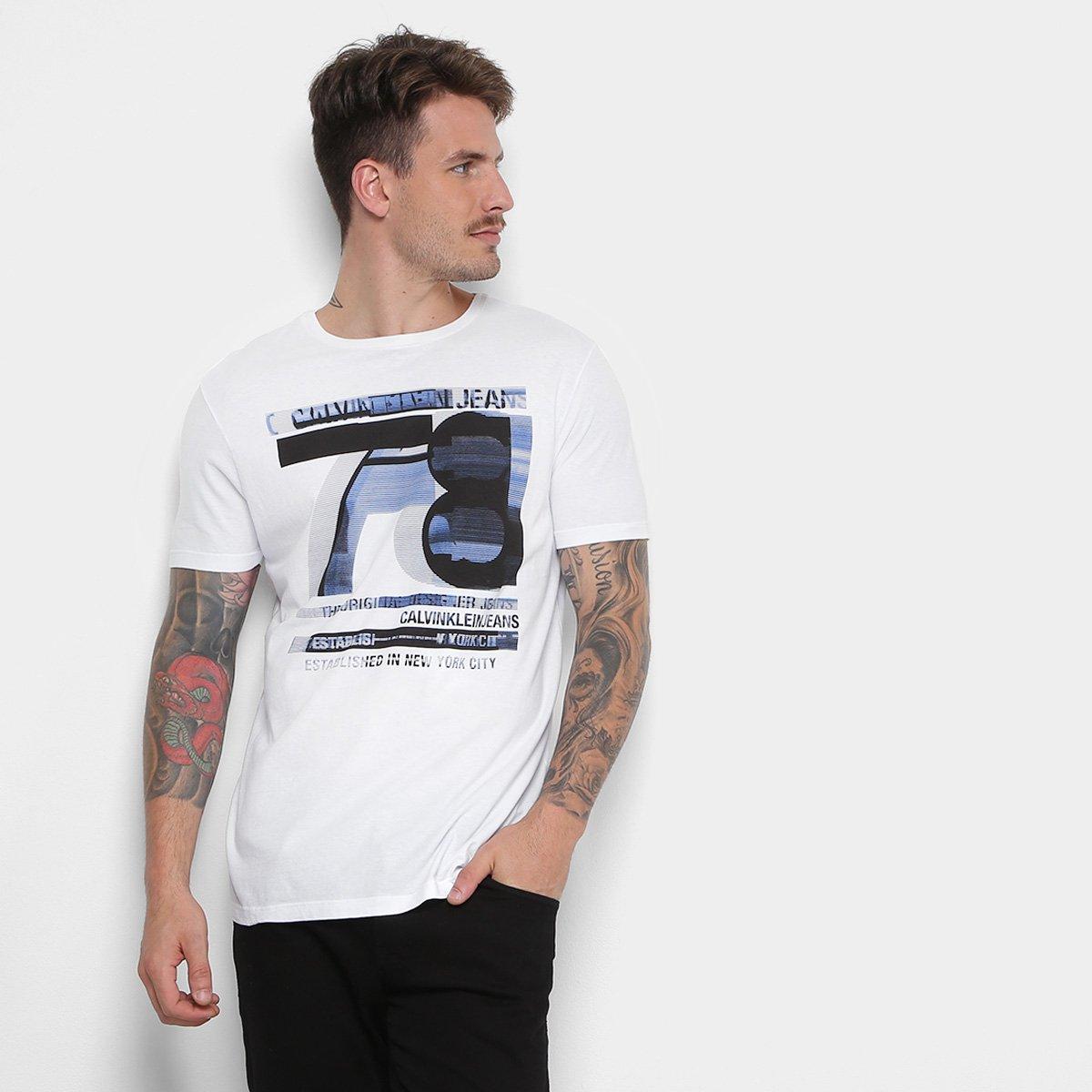 Camiseta Calvin Klein Estampada Masculina - Branco - Compre Agora ... 84a7b07ddb9