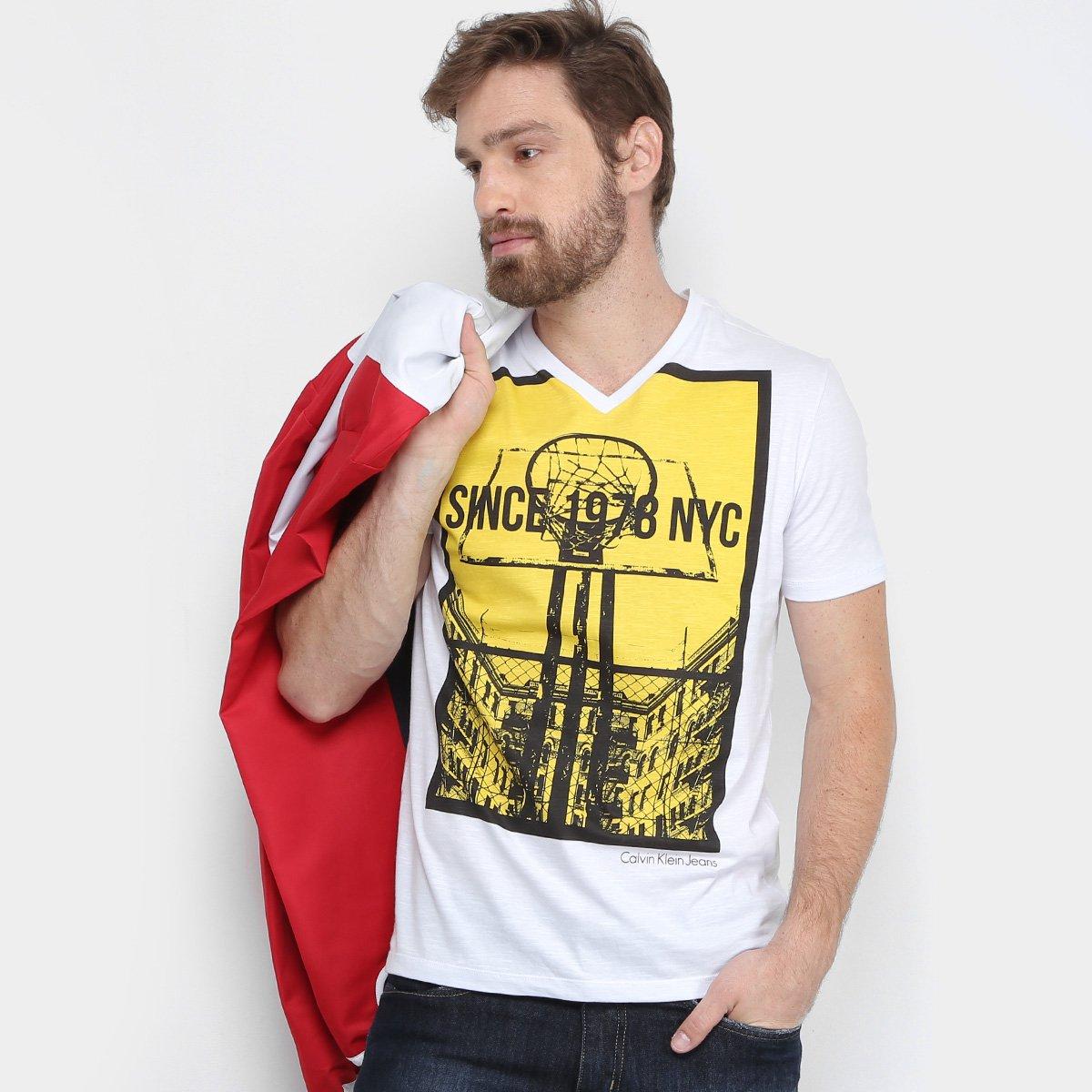 2d2689132835f Camiseta Calvin Klein Gola V Basquete Masculina - Compre Agora ...