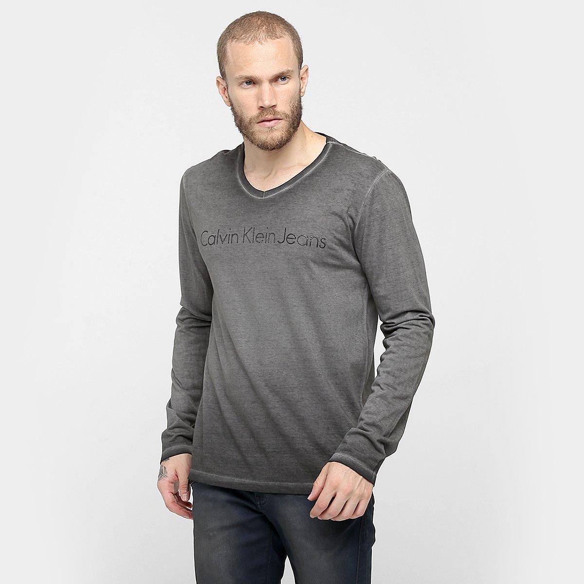 464ea5c8fbd3e Camiseta Calvin Klein Gola V Estonada - Compre Agora