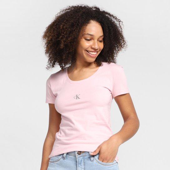 Camiseta Calvin Klein Logo Feminina - Rosa