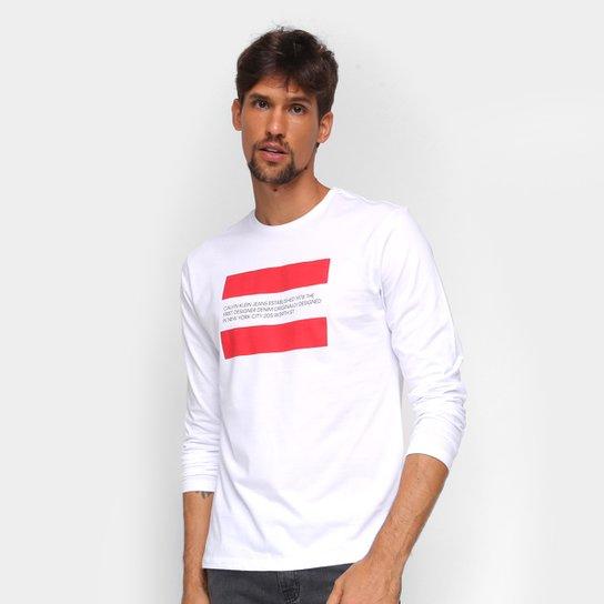 Camiseta Calvin Klein Manga Longa Faixas Masculina - Branco
