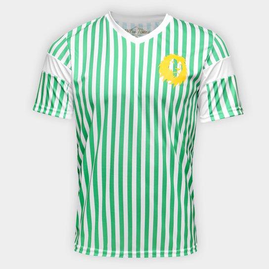 Camiseta Camarões 1990 Retrô Times Masculina - Branco+Verde