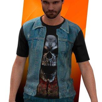 Camiseta Camisa Colete De Jeans Moto Clube Blusa 0002