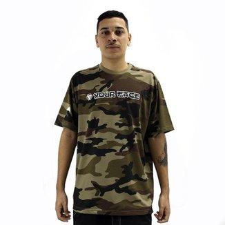 Camiseta Camuflado Manga Curta JP Your Face Esporte Estilo Urbano Skate Passeio Poliéster
