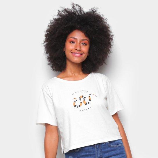 Camiseta Cantão Babylook Cropped Cobra Feminina - Off White