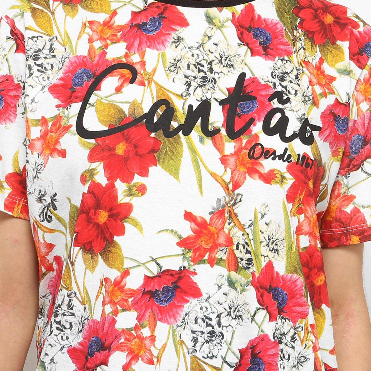 Feminina Cantão Estampa Floral Camiseta Camiseta Branco Estampa Cantão Floral Feminina q8ZwpxTAB