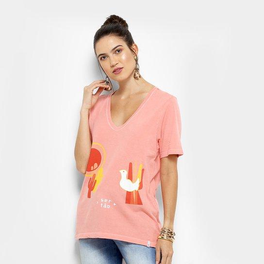 Camiseta Cantão Passarinho Feminina - Rosa
