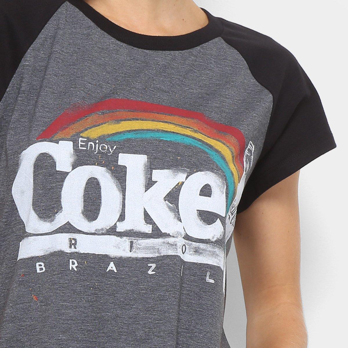 Preto Camiseta Raglan Cola Coca Feminina Coca Camiseta Retrô 0T1dxndpw