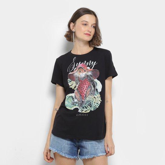 Camiseta Colcci Estampada Feminina - Preto