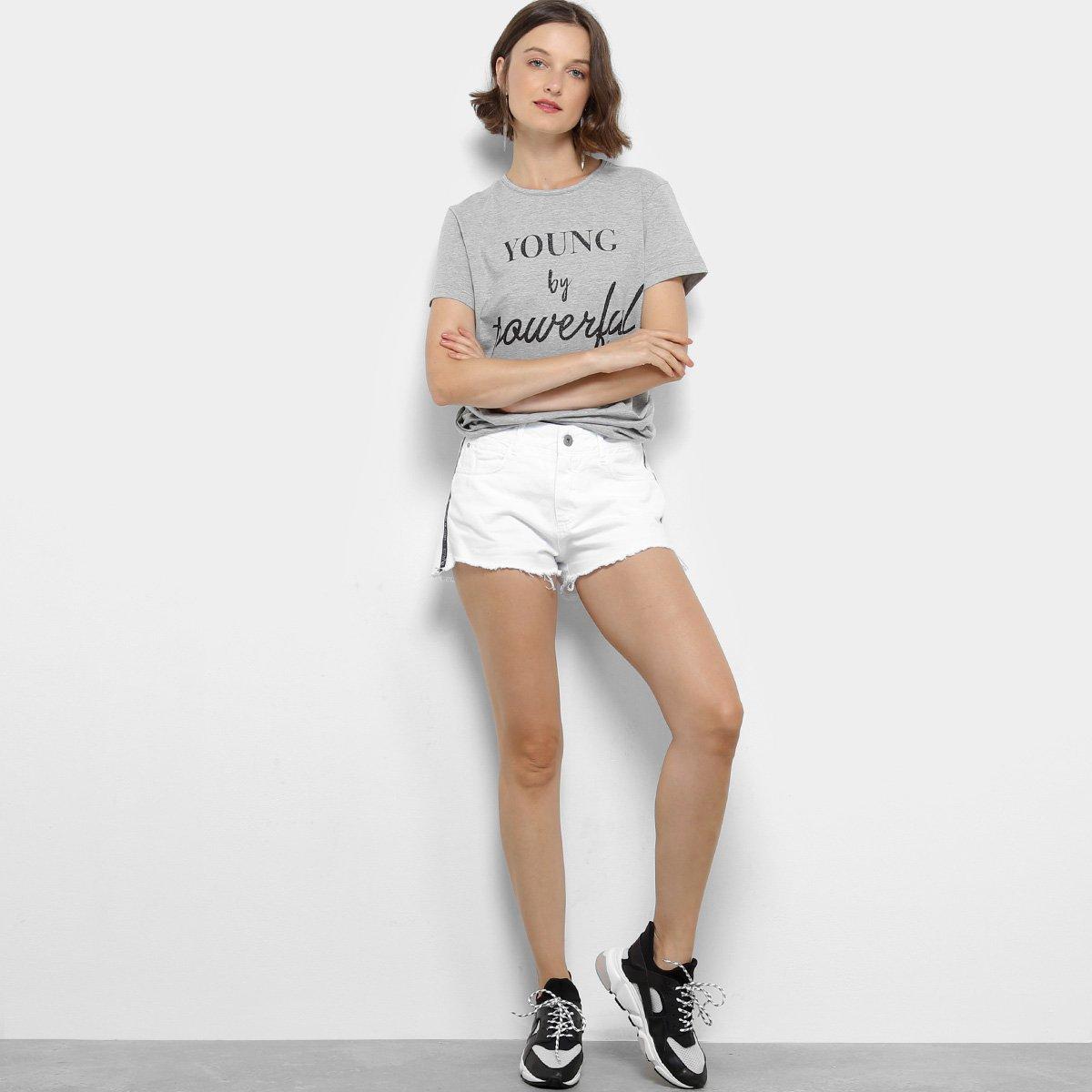 Camiseta Colcci Young By Powerful Feminina - Mescla - Compre Agora ... 82b52c6f8f3