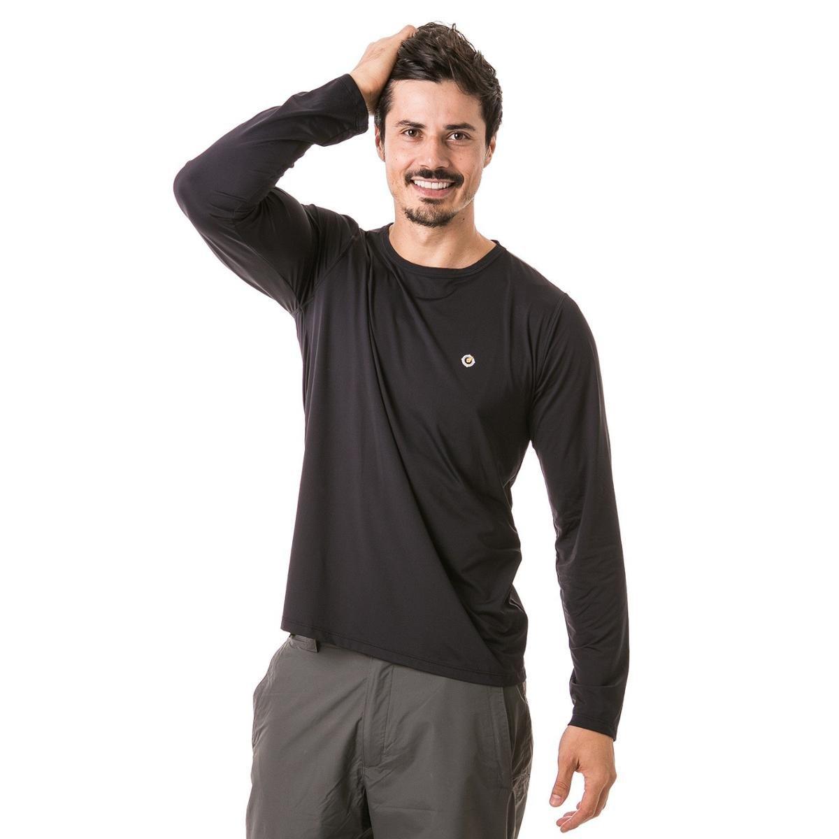Camiseta com Proteção Solar FPU50+ Manga Longa Extreme UV Ice - Preto 911c62fdd87