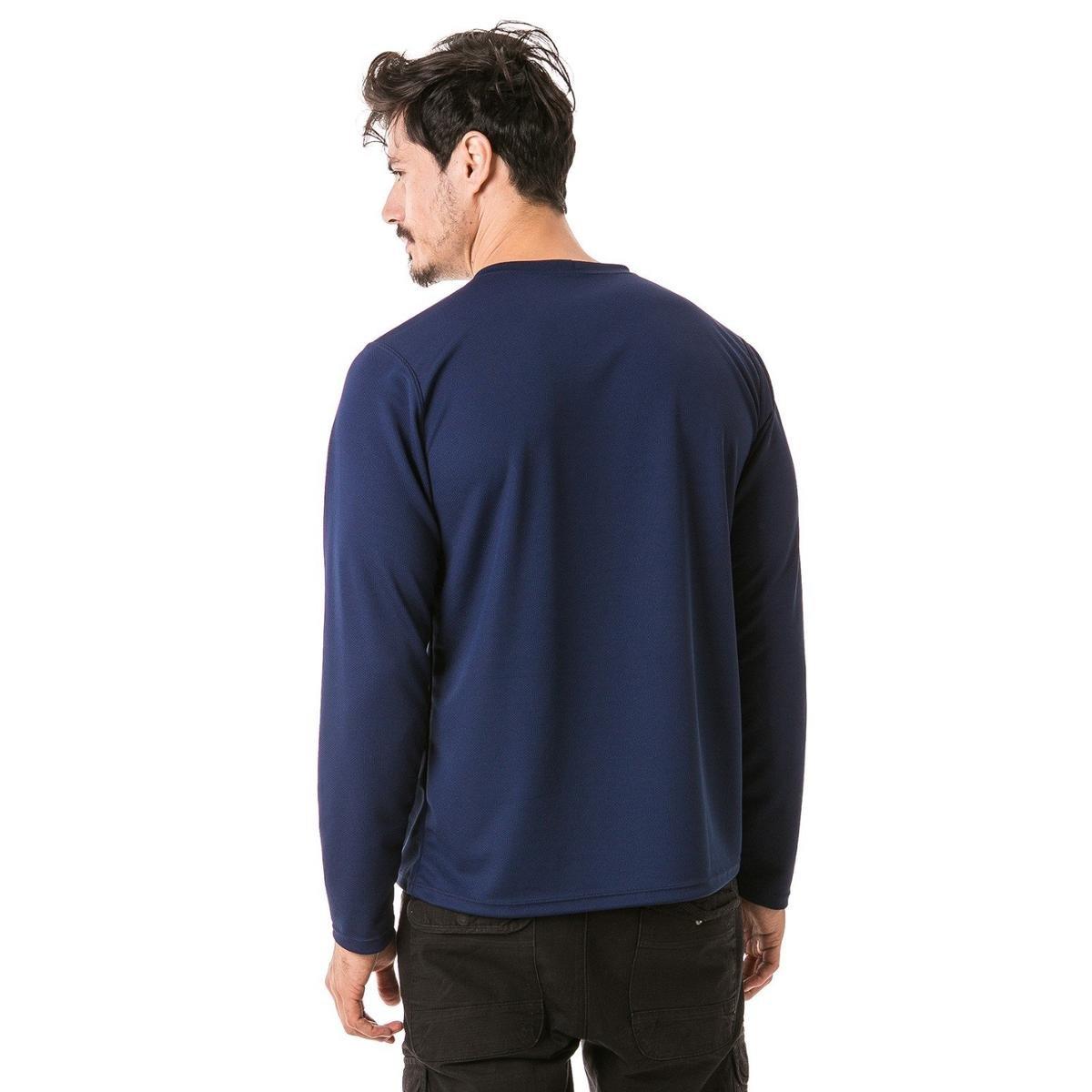 Camiseta com Proteção Solar Manga Longa Extreme UV Dry - Azul Escuro ... bfdc395774ed7
