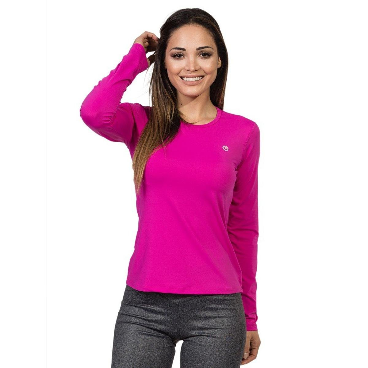 Solar Proteção Manga UV Longa com Extreme Pink Ice Camiseta HwqgtE5WW