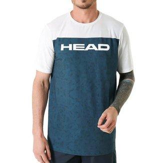 Camiseta com Recorte Frontal Navy Branco - Head