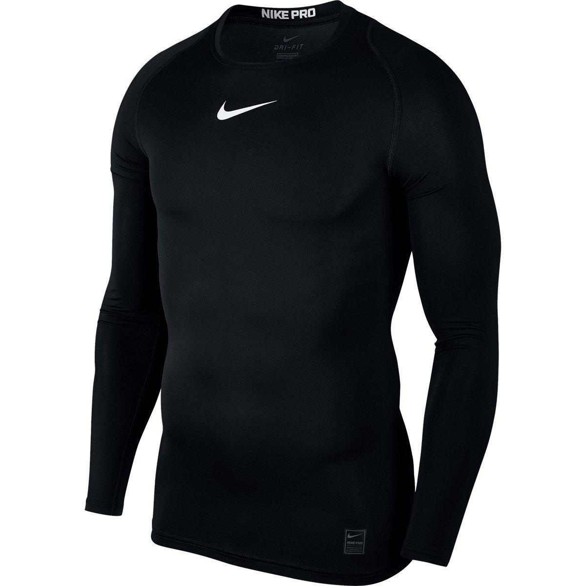 91aeb02bc6810 Camiseta Compressão Nike Pro Manga Longa Masculina - Preto e Branco -  Compre Agora