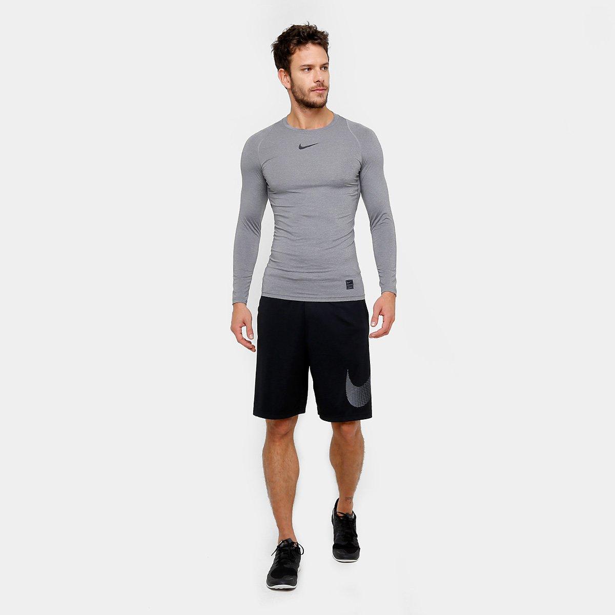 ... Camiseta Compressão Nike Pro Manga Longa Masculina - Cinza e Preto . ab0626ae6d191