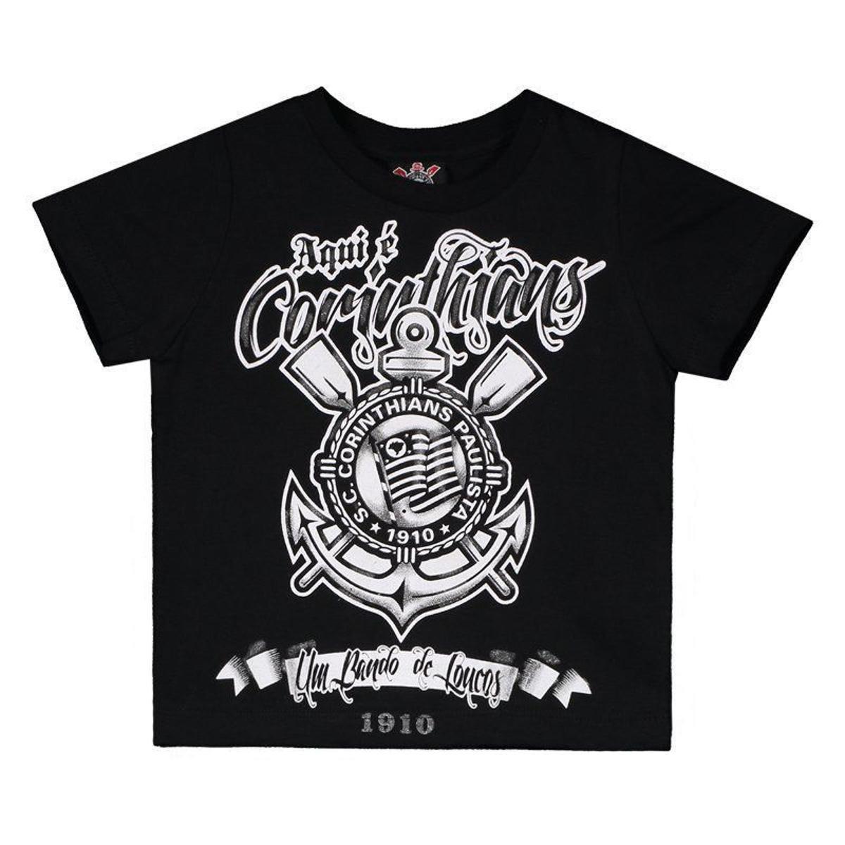 06f0d806426ac Camiseta Corinthians Aqui É Corinthians Infantil - Preto - Compre Agora
