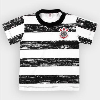 Camiseta Corinthians Infantil Listras Craqueladas
