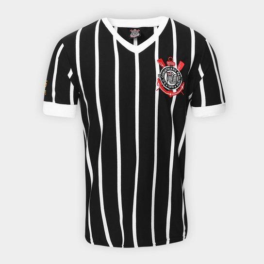 Camiseta Corinthians Réplica 1983 Masculina - Preto+Branco