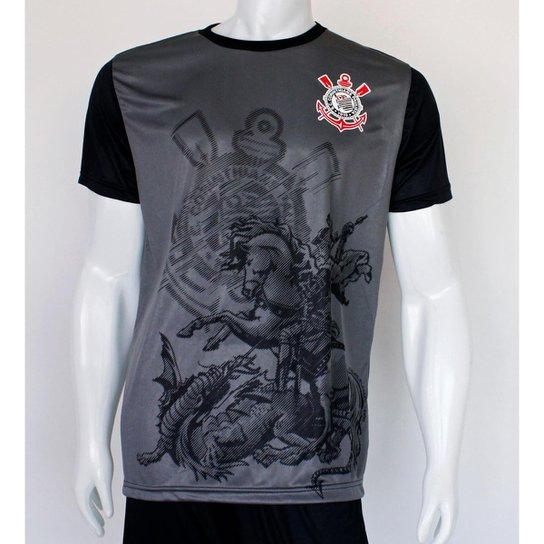 Camiseta Corinthians SPR São Jorge Masculino - Preto+Chumbo
