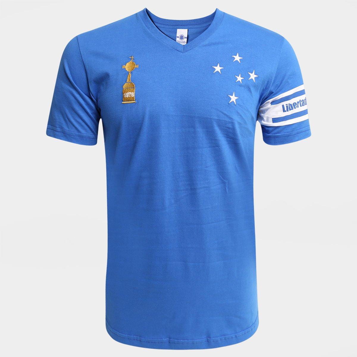 ea868c42e7a36 Camiseta Cruzeiro Capitães Libertadores 1976 Masculina - Azul Royal - Compre  Agora