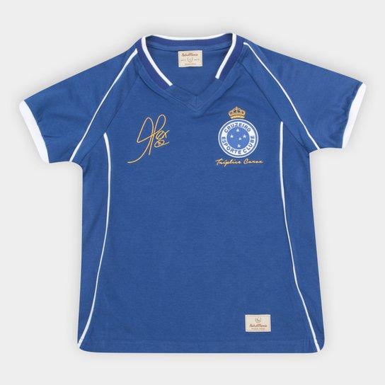 Camiseta Cruzeiro Juvenil Retrô Mania 2003 Alex Triplice Coroa - Azul Royal