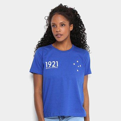 Camiseta Cruzeiro Nasce o Futebol 1921 Feminina - Azul - Compre Agora  161f014bbac20