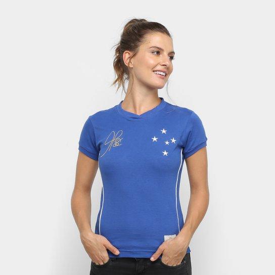 Camiseta Cruzeiro Retrô 2003 Copa do Brasil Feminina - Azul