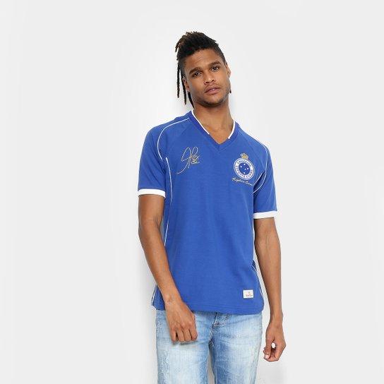 Camiseta Cruzeiro Retrô Mania 2003 Tríplice Coroa Masculina - Azul Royal