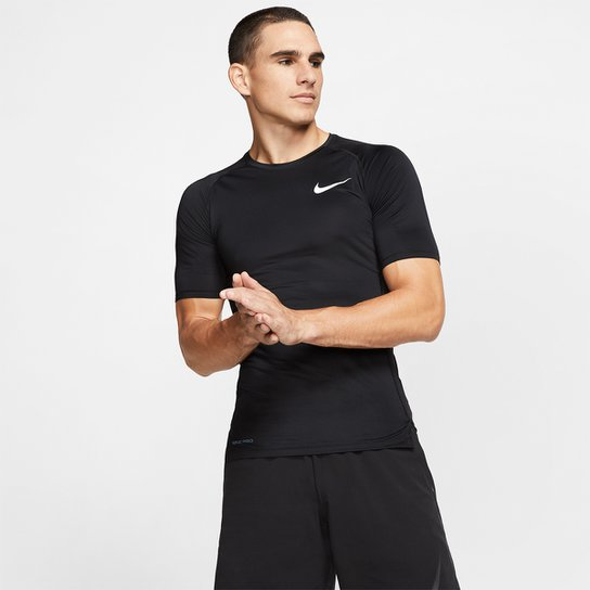 Camiseta de Compressão Nike Pro Top Tight Masculina - Preto+Branco