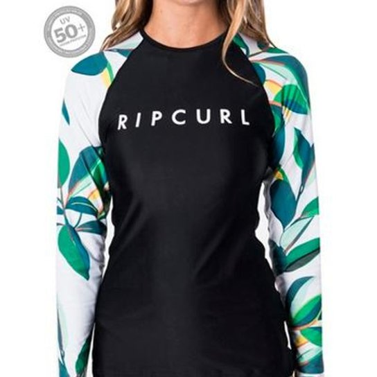 Camiseta de Lycra Blanco Bay Relaxed Feminina - Rip Curl - Preto+Branco
