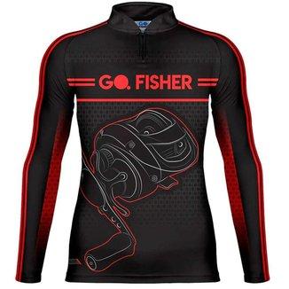 Camiseta de Pesca Go Fisher Action UV Manga Longa Carretilha GF10