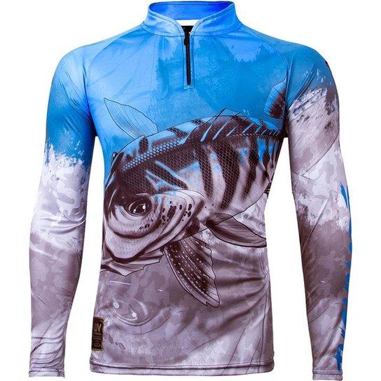 Camiseta De Pesca King Brasil Manga Longa Masculina - Azul+Cinza