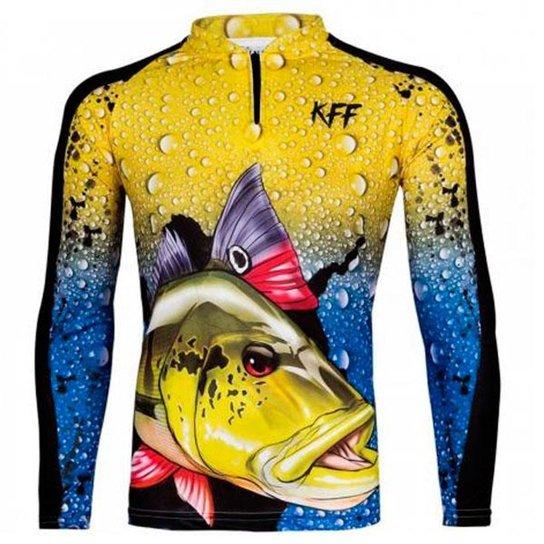 Camiseta De Pesca King Brasil Manga Longa Tucunaré Masculina - Amarelo
